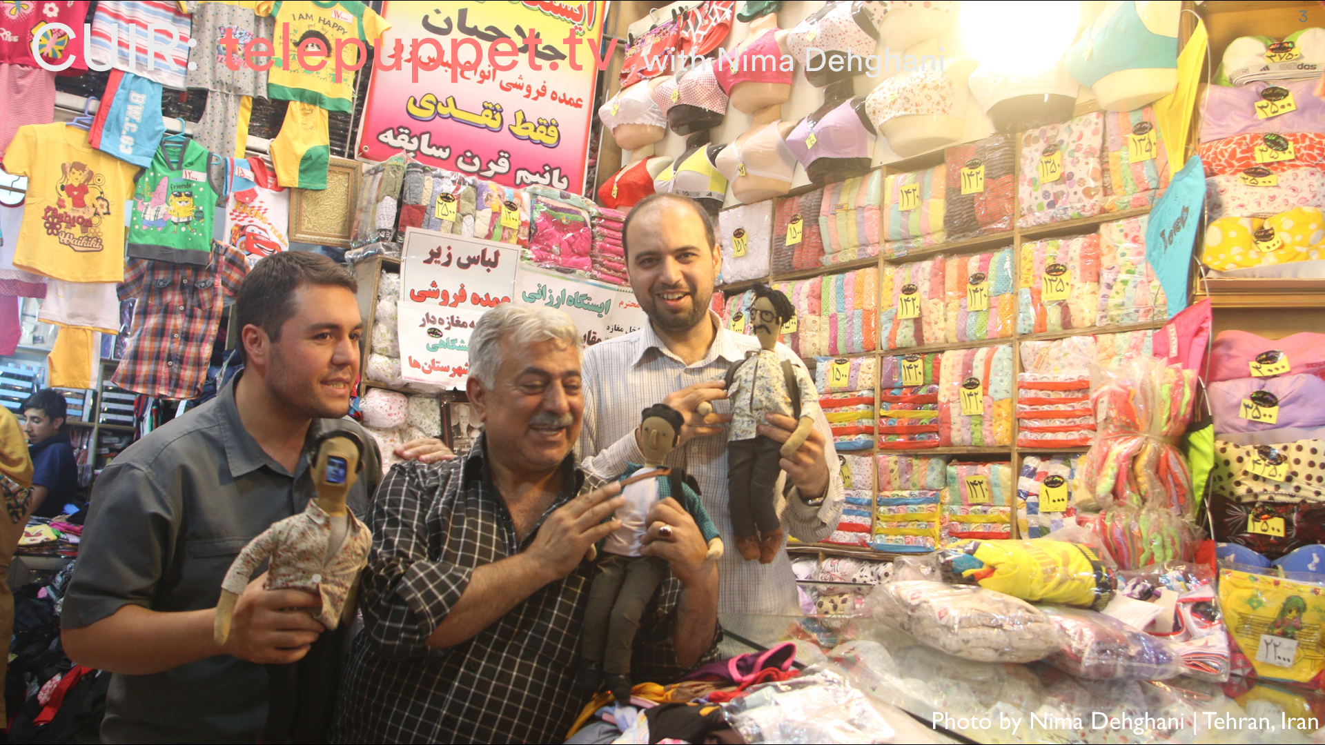 Telepuppets greet shop keepers